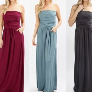 Dresses & Skirts - Ash Blue Strapless Dress